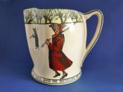 Early Royal Doulton Isaac Walton Ware 'Gallant Fishers' Jug D2312 U.S. Patent c1906
